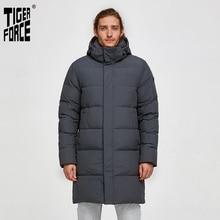 타이거 포스 화이트 오리 자켓 남성 겨울 긴 퍼퍼 자켓 남성 다운 자켓 후드 캐주얼 Thicken Warm Overcoat