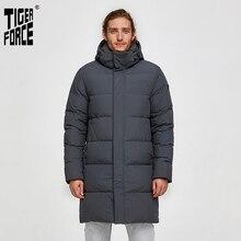 Tiger Kraft Weiße Ente Unten Jacke Männer Winter Lange Puffer Jacken Männlichen Unten Jacke mit Kapuze Casual Verdicken Warme Mantel