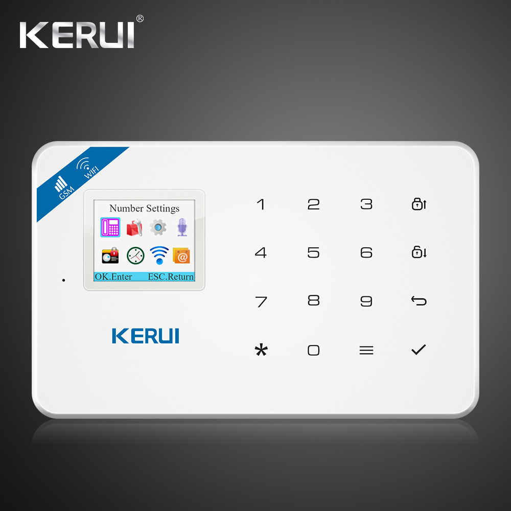 Original Kerui Wifi GSM Alarm W18 App Control Home Burglar LCD Touch Screen Alarm Home Security Alarm System Smoke Detector 1