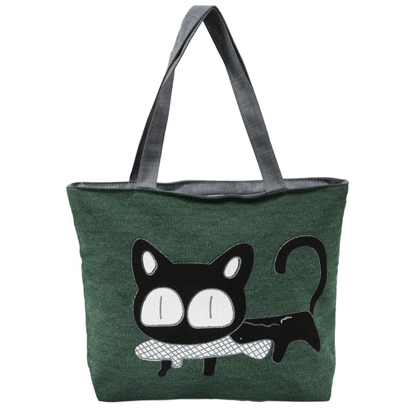 FFYY-Cute Way Cartoon Bag Bags Women Of The Cat Canvas Shoulder Bag (green)