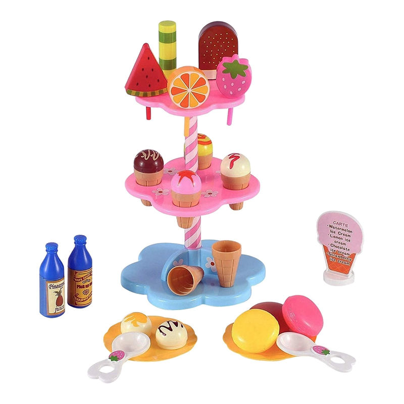Sweet Treats Ice Cream And Desserts Tower Stand - Simulation Food Cake Ice Cream Kitchen Play Food Toy Set For Kids (22 Pcs)
