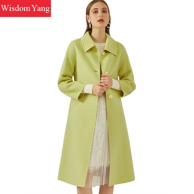 Autumn Winter Long Coat Womens Sheep Wool Green Korean Coats Wrap Vintage Elegant Woolen Overcoat Office Ladies Outerwear