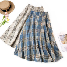 Wasteheart Autumn Winter Blue Khaki Skirts Women Fashion Ankle Length Skirt All-match Woolen Clothing Sexy A-Line Plaid
