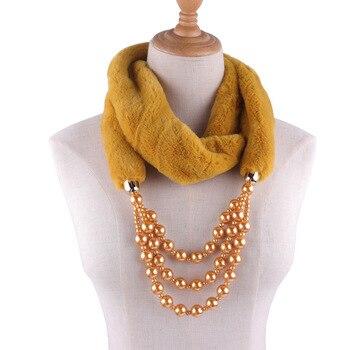 2019 Winter Ldaies Elegant Jewelry Plush Necklace Scarves Women Warm Faux Fur Pendants Scarves With Fake Pearl Female Echarpe цена 2017