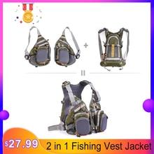 Blusea, 2 в 1, Рыболовный Жилет, универсальный размер, многофункциональный регулируемый сетчатый жилет с мутиловым карманом, куртка для рыбалки на открытом воздухе, защитный жилет