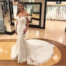Кружевное свадебное платье с юбкой годе Кружевная аппликация
