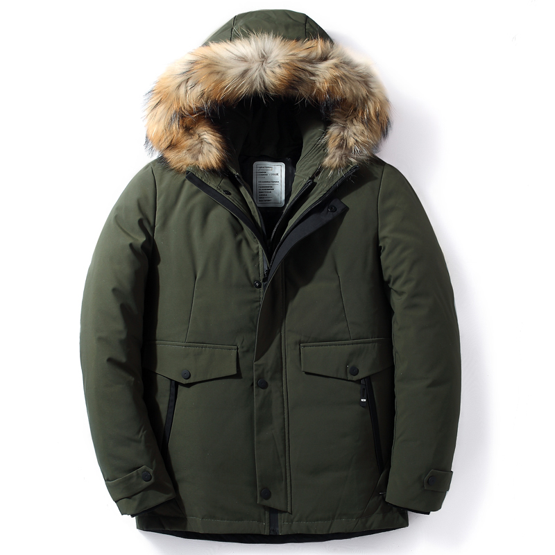Men Down Jacket Winter New Male Casual Hooded Outwears Coat Warm Fur Parka Overcoat Men's Solid Thick Zipper Jackets 2019