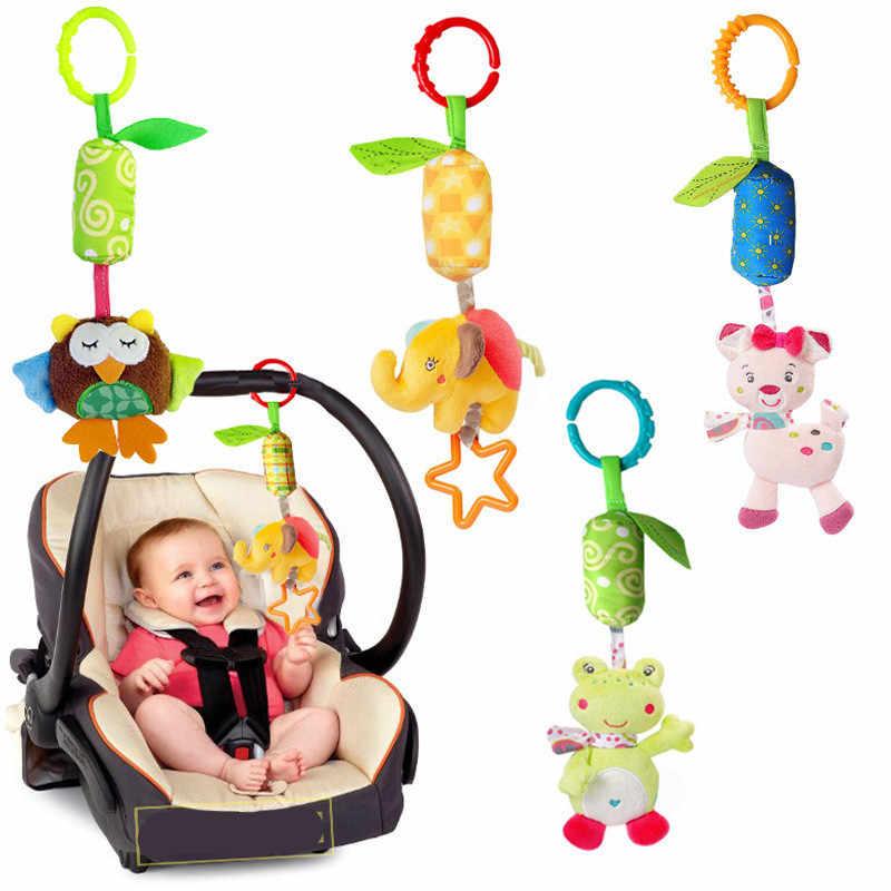 Macio infantil berço cama carrinho de criança móvel pendurado chocalho brinquedos bebê sapo elefante coruja gato brinquedo trolley 0-12 recém-nascido pelúcia educacional