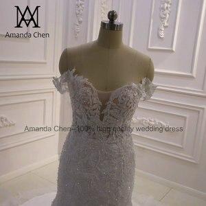 Image 3 - באיכות גבוהה תפור לפי מידה כבוי כתף בת ים Sheer חתונה שמלה