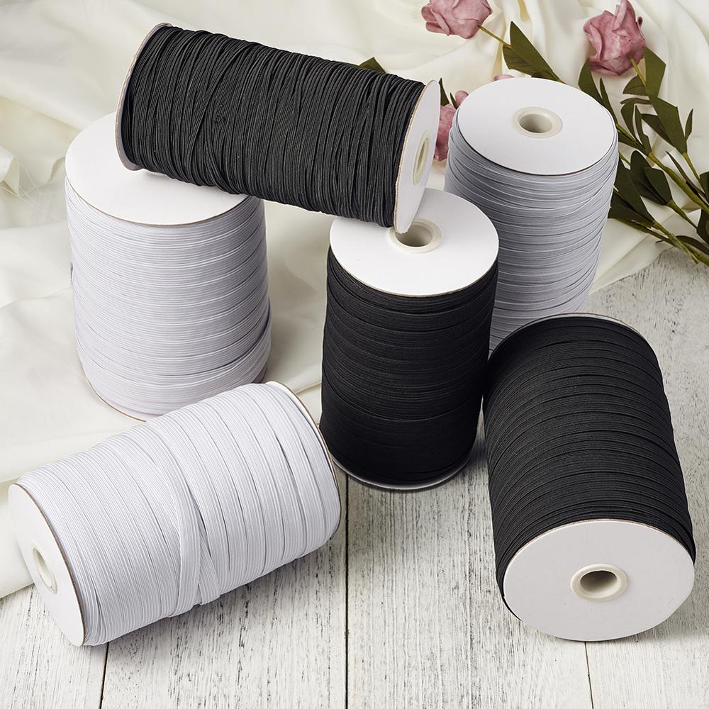 Flat Elastic Cord White Black Mask Ear Tie Rope For DIY Mask Accessories 4mm 5mm 6mm 8mm 10mm 12mm 14mm About 100yards/roll