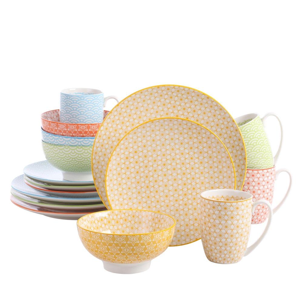 Vancasso Natsuki 16-Pieces Porcelain Multi-Colour Japanese-style Dinnerware Set with 4*Dinner Plate,Dessert Plate,Bowl,Mug Set