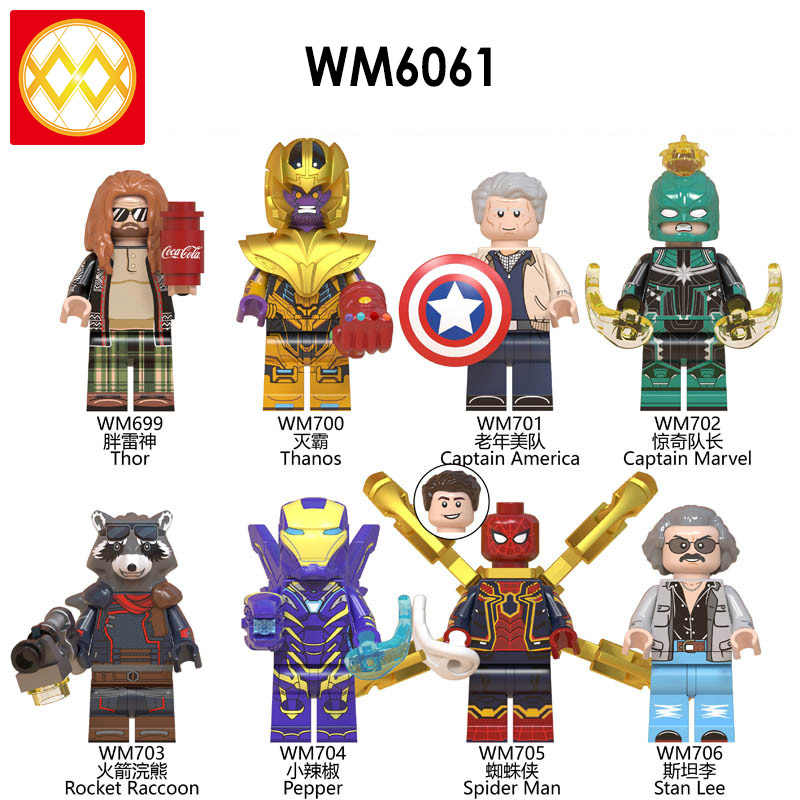 Spiderman Mysterio Iron Man พริกไทย Thor Ant-Man War Machine Hawkeye Avengers Superheroes อาคารบล็อกของเล่นสำหรับของขวัญเด็ก