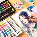 36 Цвета Kawaii акварельные краски Портативный студент акварельные краски в наборе железный ящик для рисования школьные канцелярские товары д...