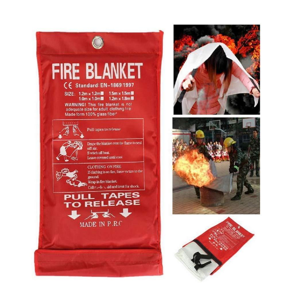 1.5*1.5m Large Fire Blanket Blanket Emergency for Kitchen Safety Blanket Suppression Flame Retardent for Home,School,Office