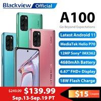 Blackview-teléfono inteligente A100 Helio P70, móvil con Android 11, 6GB + 128GB, 6,67