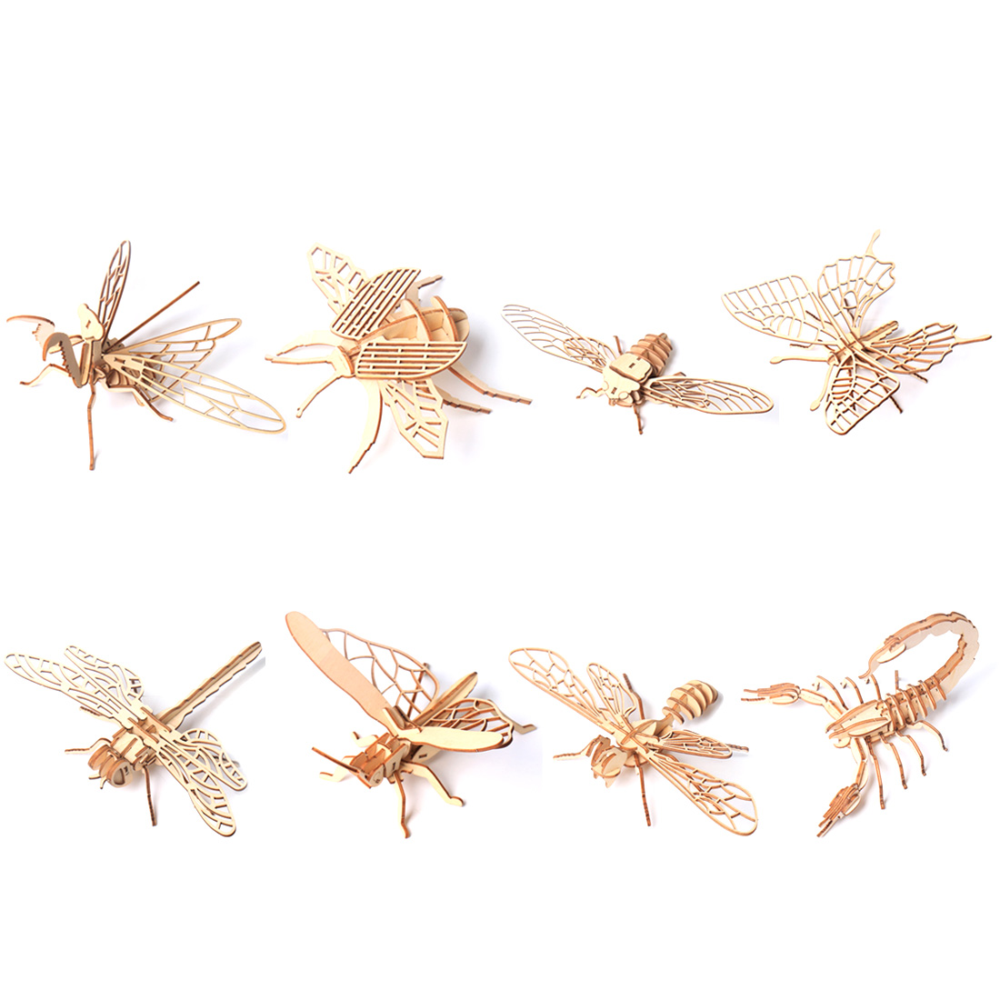 3D DIY Wooden Puzzle Toy Simulation Insect Assembly Puzzle Model Toy Butterfly Bee Dragonfly  Grasshopper Mantis Scorpion Cicada