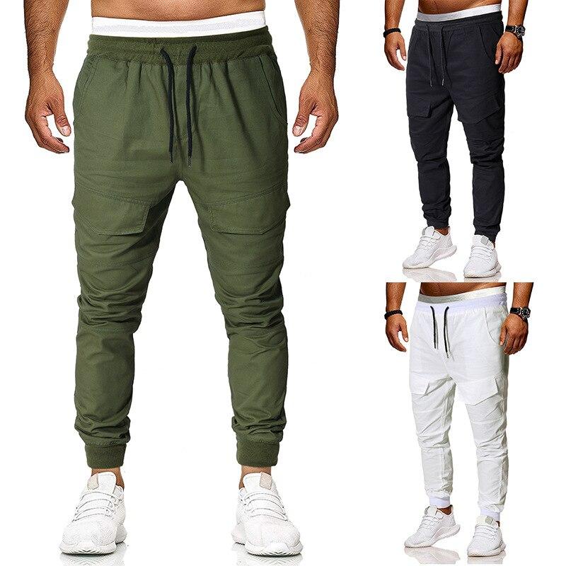 Ouma 2019 New Style Men's Fashion Solid Color String Belt Versatile Beam Leg Casual Pants Pants Men's