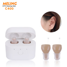 C400 Rechargeable Sound Amplifier Mini Hearing Aid with Magnetic Contact Charging Box for Seniors Adults Pair
