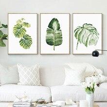 Poster laminas decorativas pared cuadros posters e cópias da arte da parede pintura em tela nordic planta folhas verdes peinture para