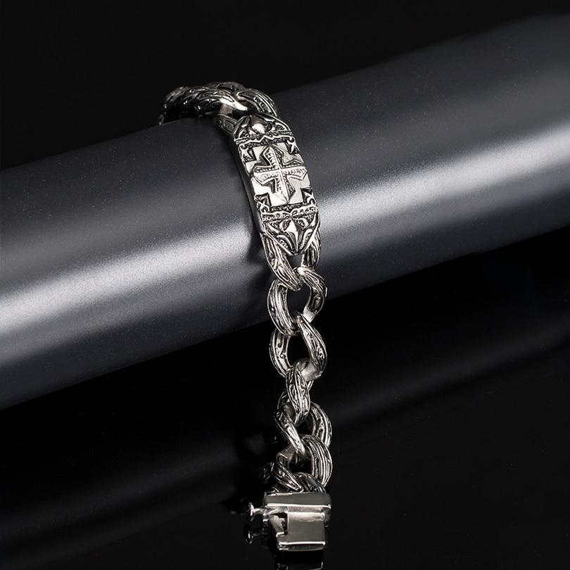Image 4 - TrustyLan Retro Chain Link Bracelet Men 17MM Wide Heavy Cross Stainless Steel Men's Bracelets Cool Punk Male Jewelry Wristband-in Chain & Link Bracelets from Jewelry & Accessories