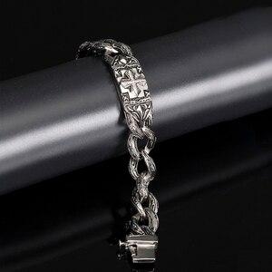 Image 4 - TrustyLan Retro Chain Link Bracelet Men 17MM Wide Heavy Cross Stainless Steel Mens Bracelets Cool Punk Male Jewelry Wristband