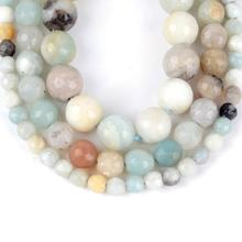 цена Natural Faceted Amazonite Stone Round Loose Beads For Jewelry Making 4-12mm Spacer Beads Fit Diy Bracelet Necklace 15'' Strand онлайн в 2017 году