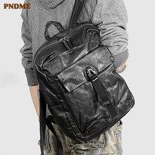 Mochila PNDME informal de piel auténtica de alta calidad para hombre, mochila de cuero vacuno suave a la moda, mochila negra de viaje para adolescentes