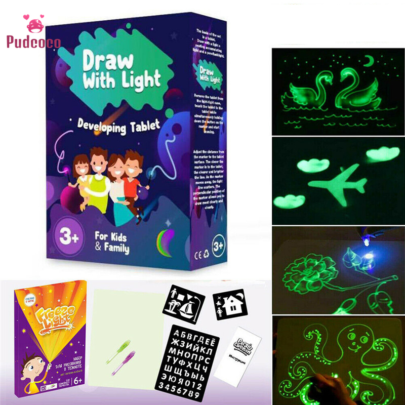 Pudcoco Fluorescent Drawing Board Draw With Light Fun And Developing Toy Educational Magic Draw Gift Kids New Whiteboard
