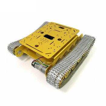 TS100 DIY Metal Shock Absorption Tracked Robot Programmable Smart Car Chassis Kit With 9/12/33v Motor (No Encoder) - Golden