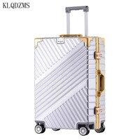 KLQDZMS ABS Retro Aluminium Rahmen Modische Trolley Gepäck Tasche 20''24''26''29 Zoll Innovative Koffer Mit Spinner