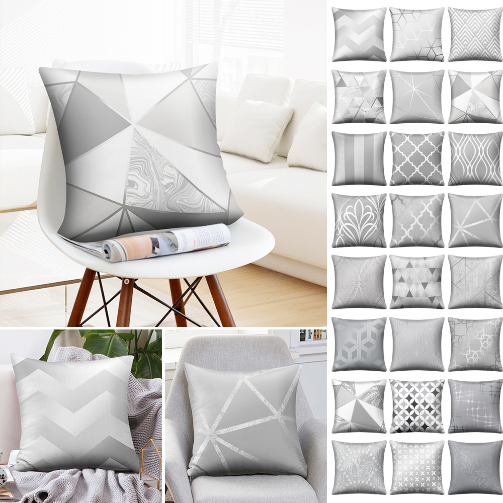 Silver Gray Striped Geometric Cushion Cover Peach Skin Pillowcase Cojines Decorativos Para Home Bedroom Sofa Decor 45*45cm