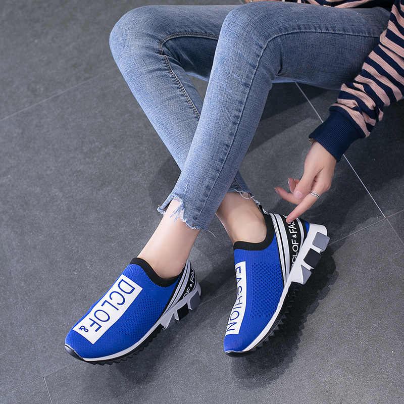 Summer Women New Socks Shoes Big Size 45 Stretch Fabric Vulcanize Breathable Soft Sneakers Shoes Footwear Fashion Vulcanize Shoe