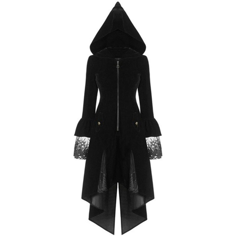 Rosetic Women Long Retro Gothic Medieval Women's Windbreaker Jacket Female Patchwork Vintage Goth Punk Cool Halloween Party