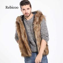 2019 faux fur mens vest with hood and fluffy slim warm comfortable jacket