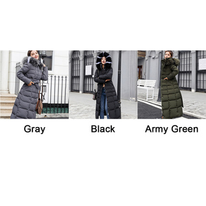Image 4 - חורף נשים למטה מעיל ארוך סלעית אופנה שלג בגדים חם כותנה מרופדת ארוך שרוול מעיילים למטה מעיל עבור נקבה #734