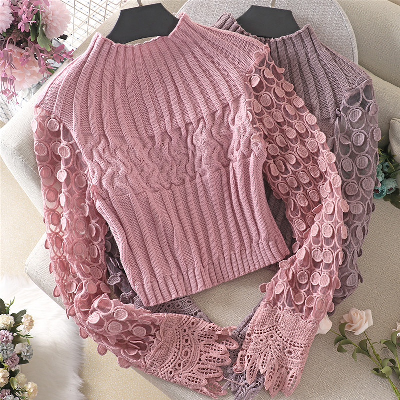 2020 New Spring Autumn Women Knitted Pullovers Mesh Patchwork Sweater Female Hollow Out Puff Sleeve Knitwear Short Tops AB1793