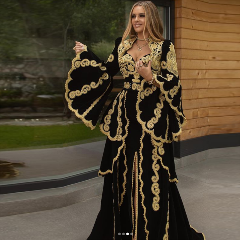 Black Prom Gown A line V neck Long Sleeves Moroccan Kaftan Evening Dress With Golden Applique Dubai Saudi Arabia Long Prom Gown