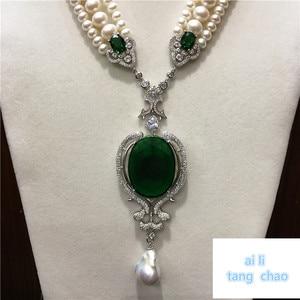 Image 3 - Mão atada branco natural pérola de água doce luxo multicamadas camisola corrente colar moda jóias