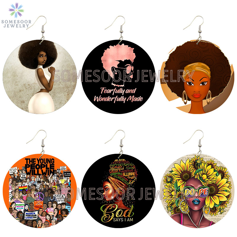 SOMESOOR Soul Sunflower Afro Natural Hair Dope Wooden Drop Earrings Wonderfully Made Printed God Loops Dangle For Women Gifts