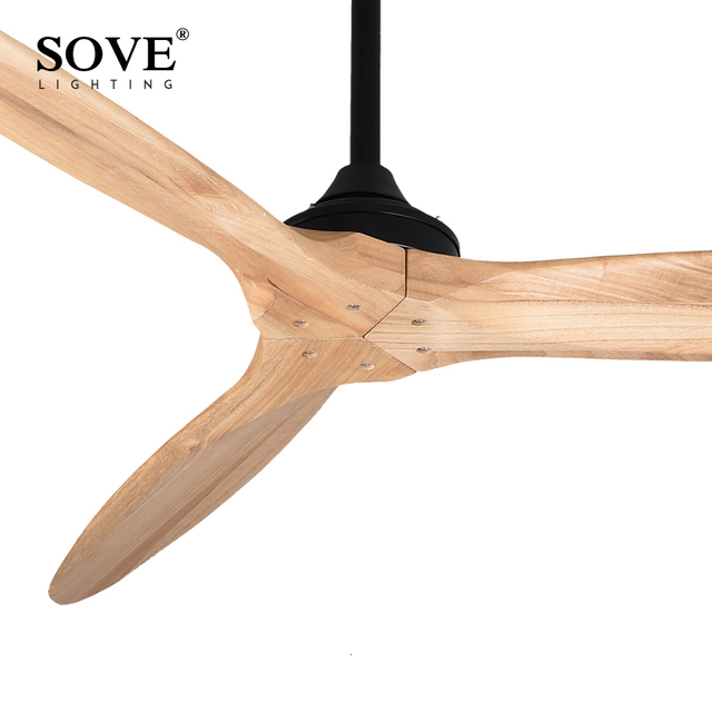 SOVE 60 Inch Modern Solid Wood Ceiling Fan Without Light With Remote Control Loft Without Lamp Fan 220V Ventilador De Teto