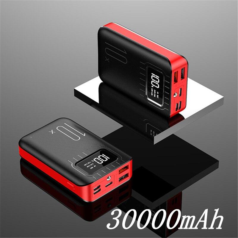 Внешний аккумулятор 30000 мАч Внешний аккумулятор портативное быстрое зарядное устройство для всех смартфонов с зарядным устройством банк полный экран водонепроницаемый - Цвет: Black Red 30000mAh