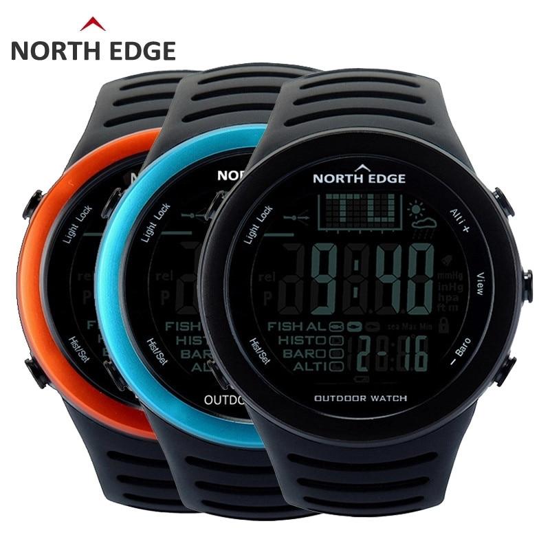 NORTHEDGE Men Digital watches outdoor watch clock Fishing weather Altimeter Barometer Thermometer Altitude Climbing Hiking hours Digital Watches     - title=