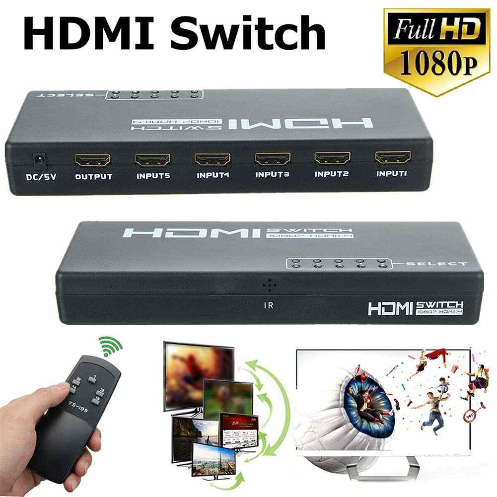3D 1080 P 5 Port 4K HDMI Switch Switcher Selector Splitter HUB Adaptor Remote HDMI Switch Switcher Splitter Selector kotak HUB HDMI