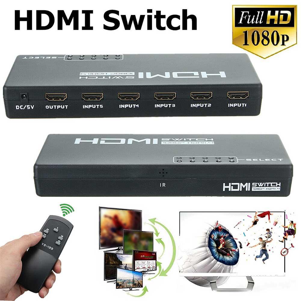 3D 1080p 5 Port 4K HDMI Switch Switcher Selector Splitter Hub Adapter Remote HDMI Switch Switcher Splitter Selector Box Hub HDMI