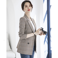Suit To Leisure Time Small Suit Light Brown Color Lattice Long Sleeve womens tops and plus size shein blazer feminino zaful