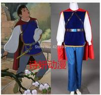 New High Quality Fairy Tales Snow white Prince Charming Cosplay Costume Men Outfit Cloak Full Set Free shipping