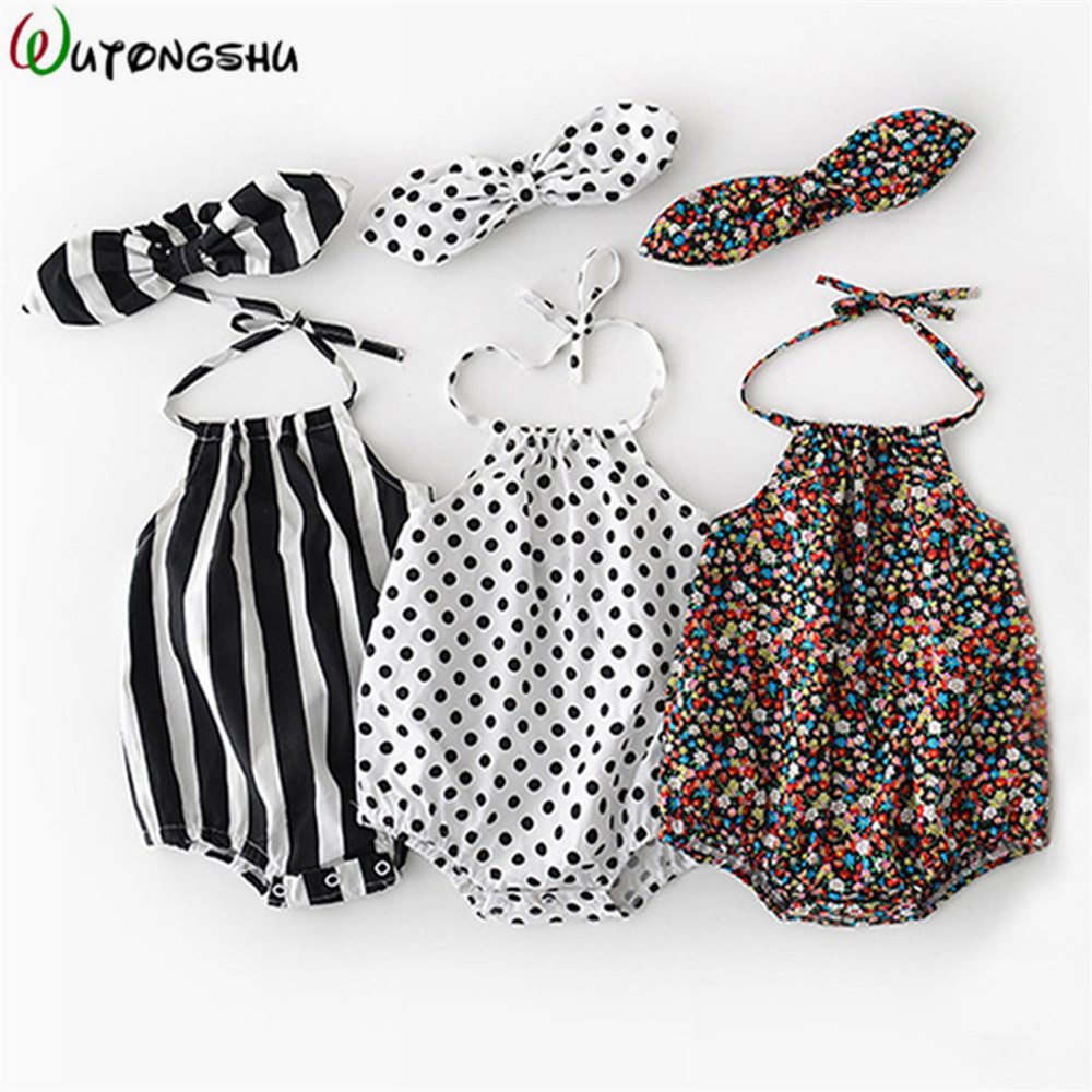 Summer Baby Girl Rompers Floral Newborn Baby Clothes 0-2Y Cotton Brand Design Romper Jumpsuit With Headband One-Pieces