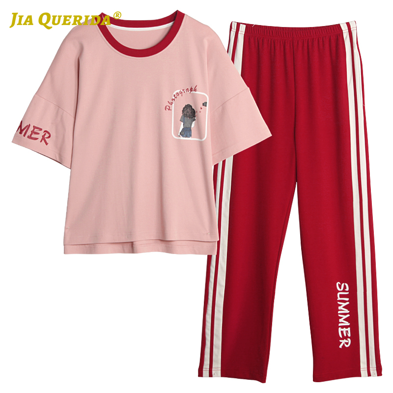 Soft New Fashion Style Short Sleeve Long Pants Pajamas Set Homesuit Homeclothes Sleepwear Casual Style Pj Set Woman Clothes