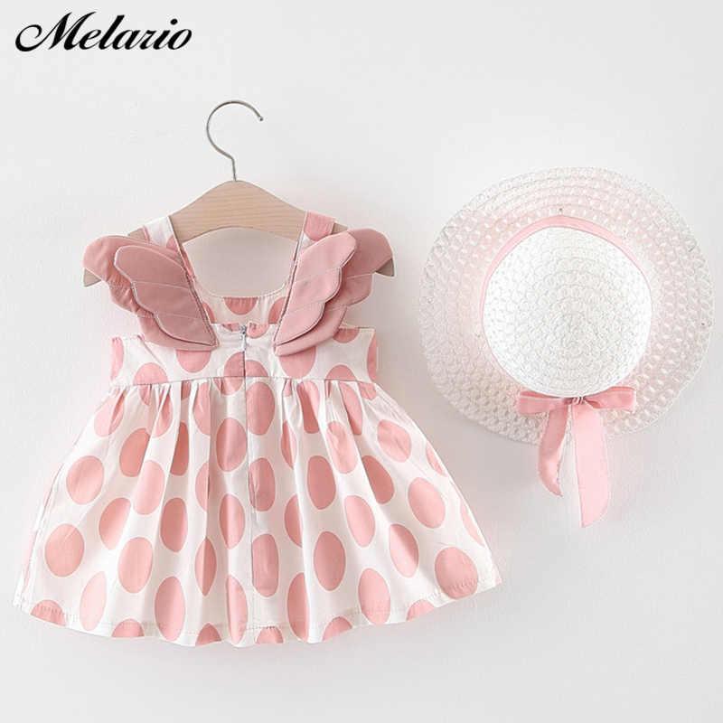 Melario/платья для маленьких девочек с шапкой; комплект одежды из 2 предметов; детская одежда; детское платье принцессы без рукавов для дня рождения с цветочным принтом
