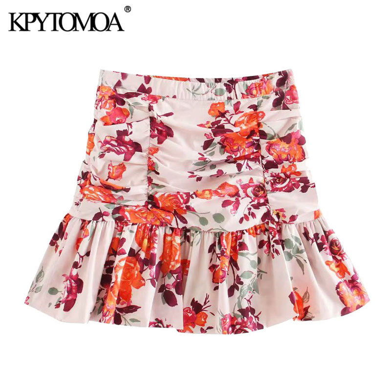 KPYTOMOA Women 2020 Chic Fashion Floral Print Ruffled Mini Skirt Vintage A Line Side Zipper Pleated Female Skirts Faldas Mujer
